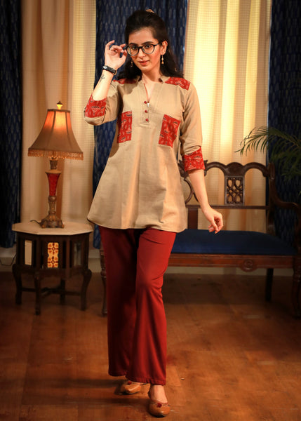 Ajrakh printed patch pocket beige casual top