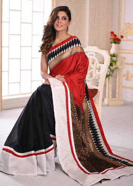 Red cotton silk with benarasi pallu & ikat border saree with black chanderi pleats - Sujatra