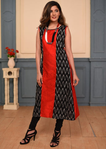 Exclusive ikat & red chanderi cotton dress