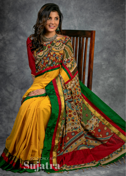 Mustard handloom cotton saree with hand painted kalamkari pallu & khun border
