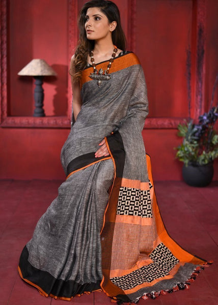 Exclusive pure linen saree with orange & black border - Sujatra