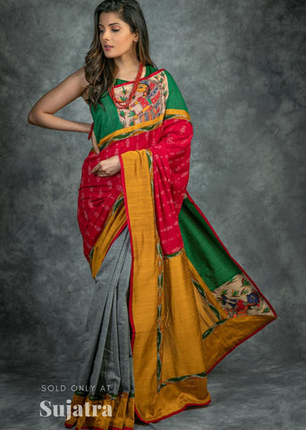 Exclusive sambalpuri ikat & hand painted madhubani painted combination handloom saree