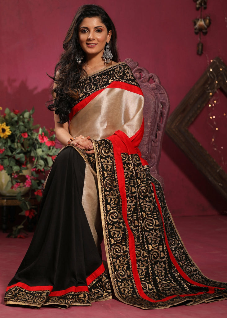 Combination of pure tassar silk and black semi silk saree with warli printed pallu & border - Sujatra