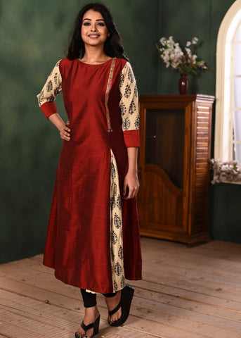 Exclusive maroon cotton silk kurti with block printed ajrakh combination