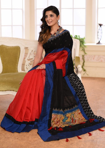 Red chanderi saree with ikat border & kalamkari patch on black cotton silk pallu