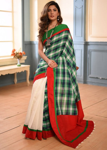 Pure cotton gamcha saree with white chanderi pleats - Sujatra