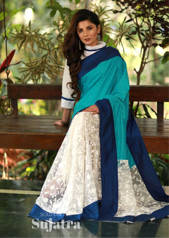 Blue semi silk & embroidered net combination saree