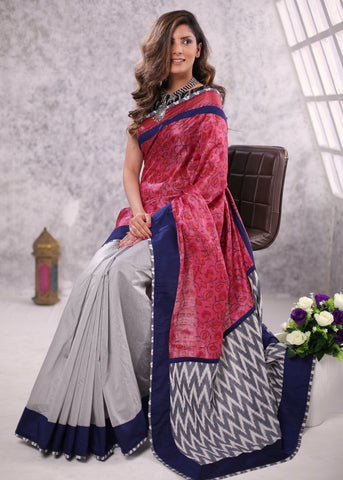 Printed pure silk with grey chanderi combination saree with ikat patch on pallu