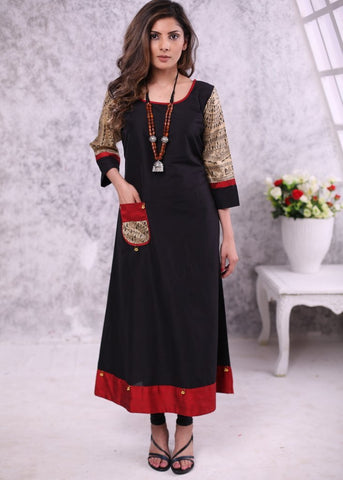 Black cotton silk dress with madhubani printed silk sleeves & piping