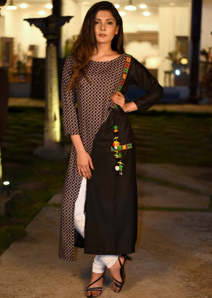Exclusive prined kurti with kutch mirror work & black cotton silk kurti