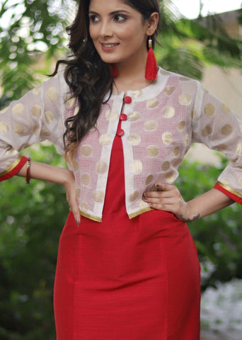 Red cotton silk dress with benarasi top