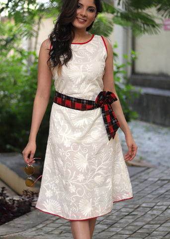 Exclusive Chikankari cotton dress with red ikat belt