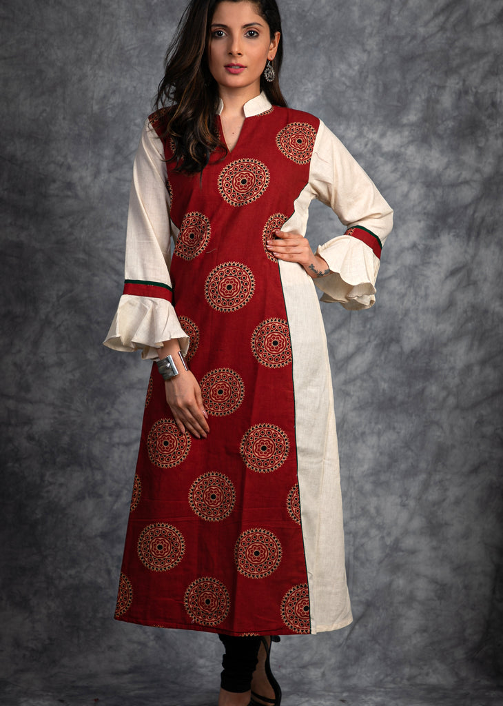 Hand block prited Ajrakh cotton and off white combination Kurta