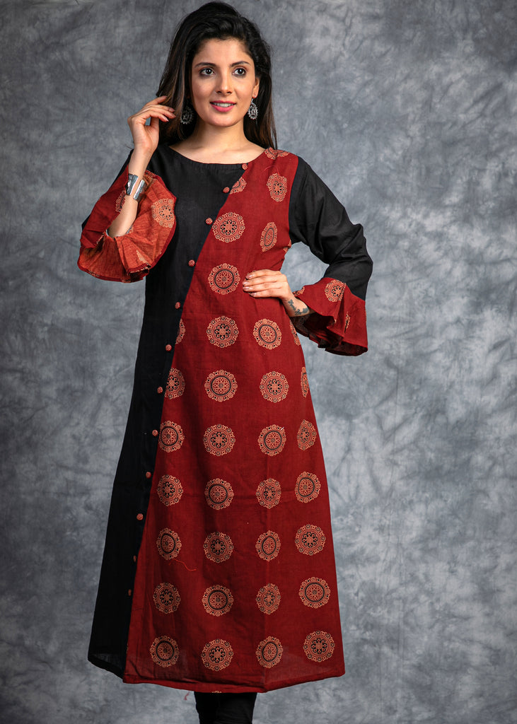 Block printed  Ajrakh  and black cotton silk combination kurta