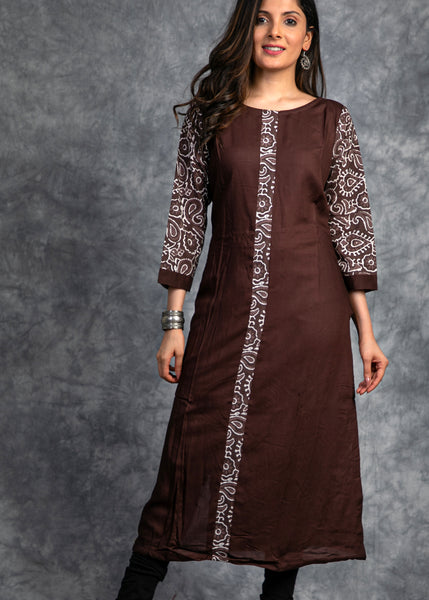 Handloom cotton Kurta with Ajrakh prints in Sleeves and front