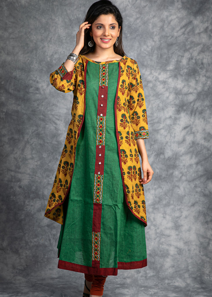 Green handloom kurta with hand made embroidery  and layered  Ajrakh jacket