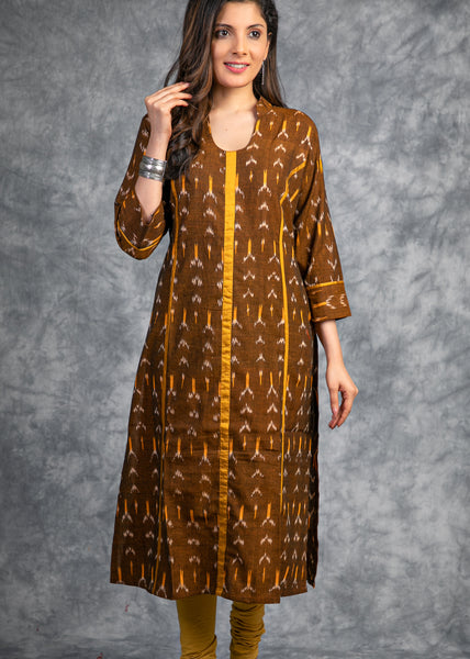 Authentic  Ikkat kurti in shades of brown and yellow