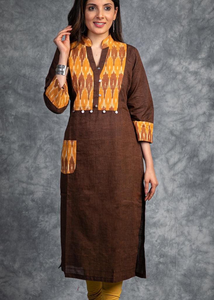 Brown cotton silk Kurti with Ikat yoke and cuff combination