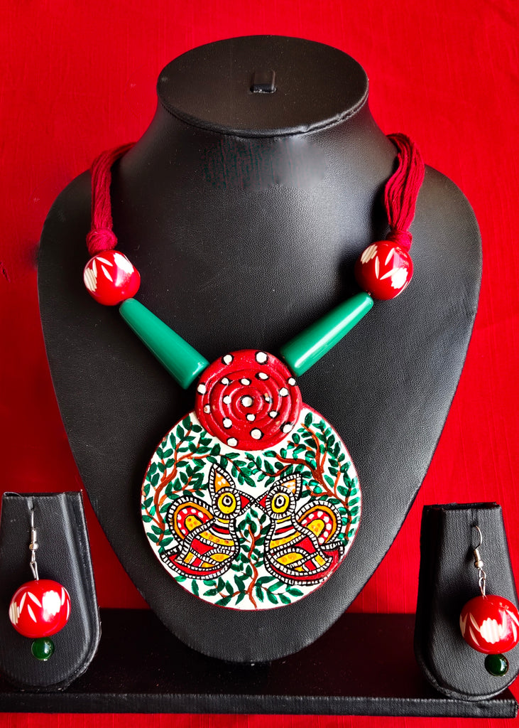 Exclusive hand painted ethnic necklace set