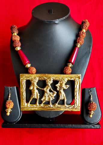 Ethnic necklace set with Rudraksh beads and exclusive pendant