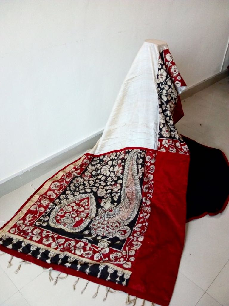 Handpainted Kalamkari with pure tassar silk and black chanderi pleats - Sujatra