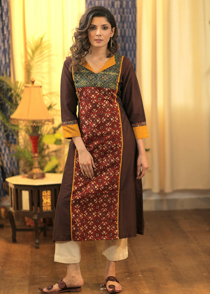 A-line Cotton  Silk Kurta with combination Ajrakh Panel