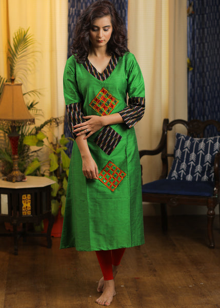 A-line Cotton  Silk Kurta with Ikat and Handmade Kutch mirror work combination