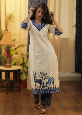 Straight Cut Cotton Handloom Kurta with Ikat and Deer Motif painted by hand