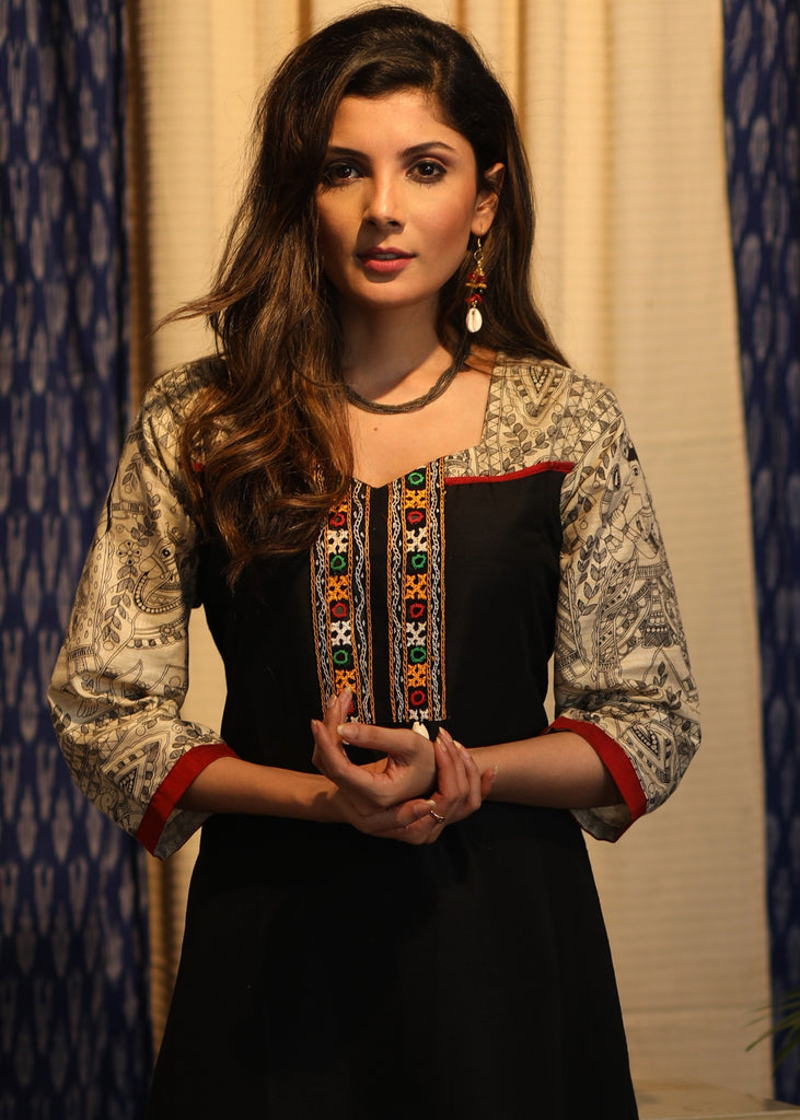 A-line Black cotton silk Kurta with Madhubani yoke, sleeves  and Kutch handwork