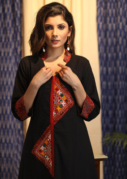A-line Black Handloom Cotton Kurta with Hand-made Kutch Mirror Work and Ajrakh