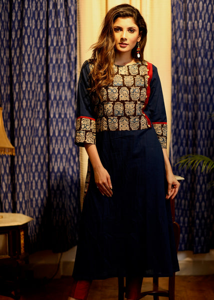 A-line Navy Blue Handloom cotton kurti with Ajrakh yoke and sleeves