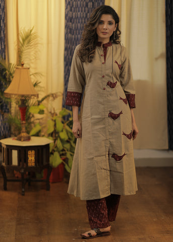 A-line Handloom Cotton kurta with exclusive Hand Cut Ikat Birds and Embroidery.