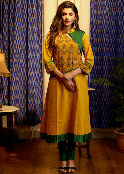 A- line Mustard and Green Cotton  Kurta with Ajrakh and Khun details