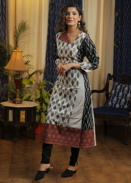 A-line Cotton  Silk kurta with Ikat and Ajrakh Combination