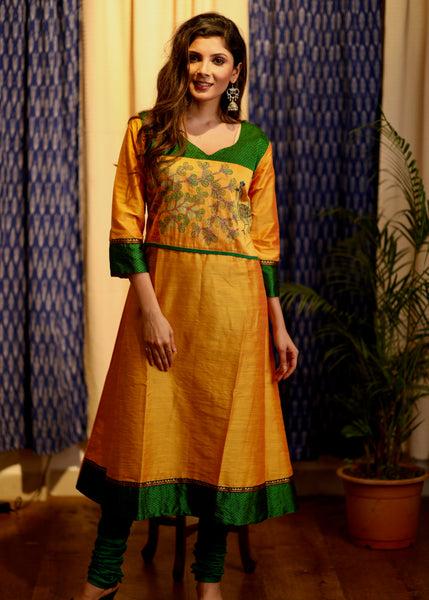 A-Line Yellow Cotton silk Kurta with Hand-painted Gond Tribal art and Green Khun