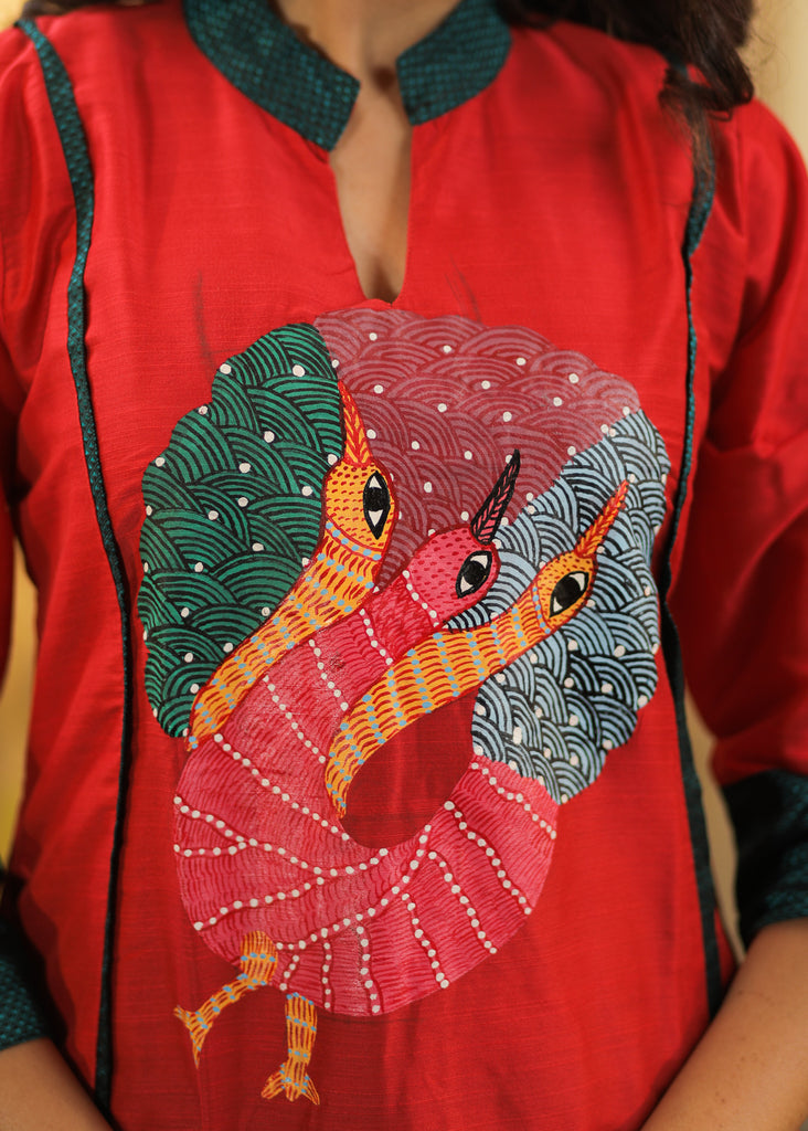 A- line Cotton Silk Kurta with Exclusive Hand painted Tribal Gond Art and Khun Details