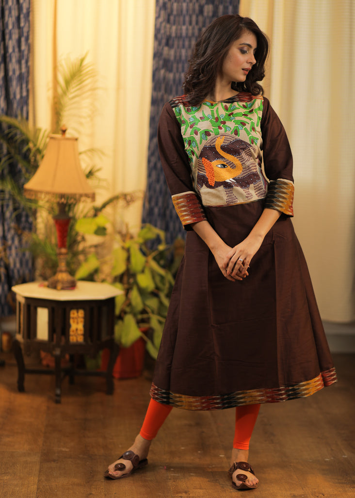 A- line  Brown Cotton silk  Kurta with exclusive Hand-painted Gond Tribal art Yoke and Ikat