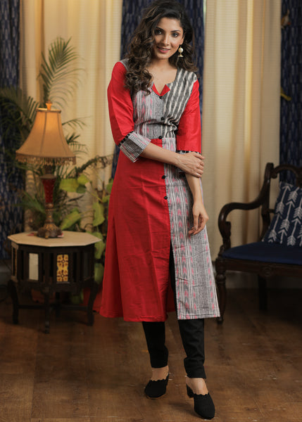 A- line Tomato color Cotton silk Kurta with Play of Different Ikats