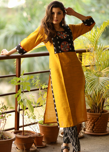 Straight cut Mustard cotton silk Kurta with ikat and Hand-made Kutch mirror embroidery
