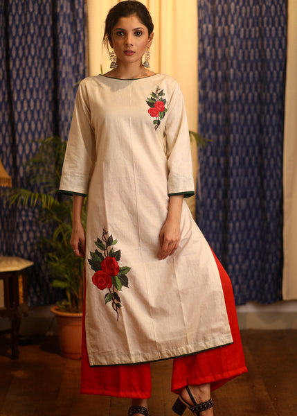 Straight Cut Cotton Kurta with Hand-painted flower motifs