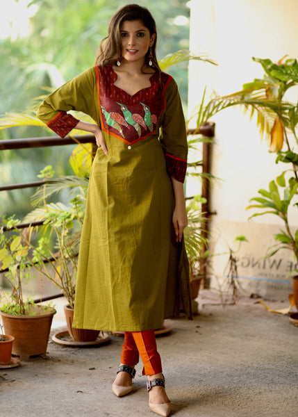 A-line  Mehendi Green Cotton Handloom Kurta with Hand-painted Gond Tribal art and Ikat