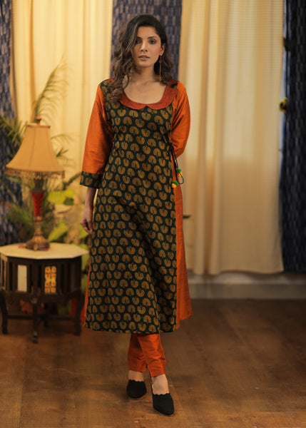 A- line Rust Cotton silk and Ajrakh Combination Kurta