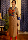 Straight Cut Handloom cotton Kurta with exclusive hand painted Gond Tribal Art and Ikat