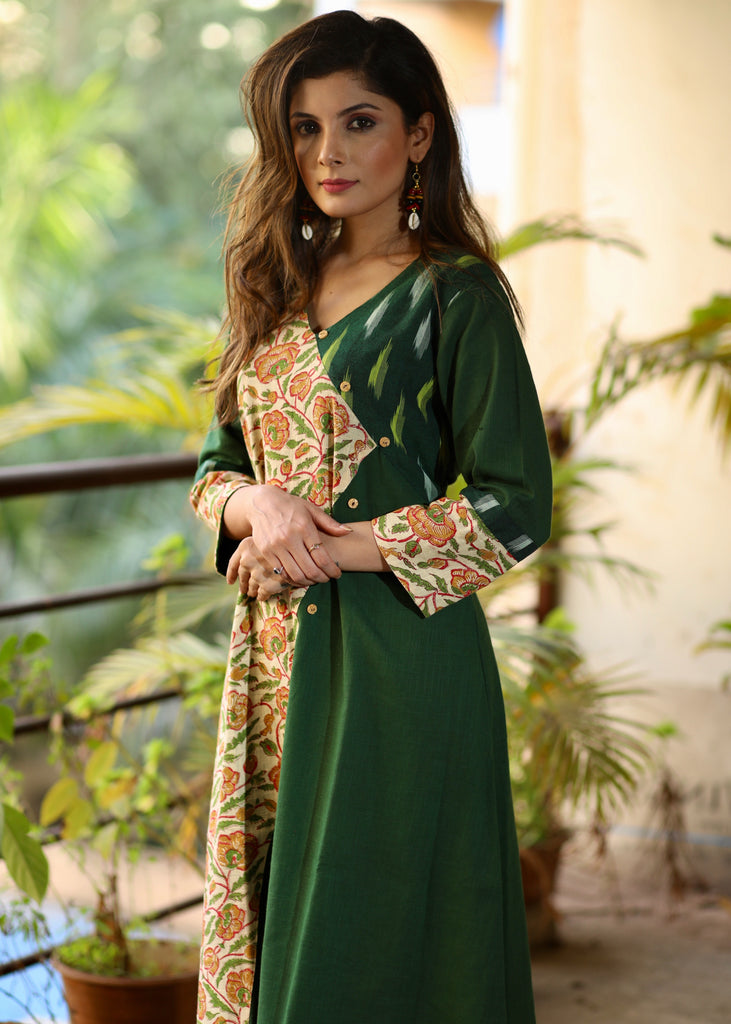 A-line Cotton Handloom Kurta with contrasting Panel and Ikat