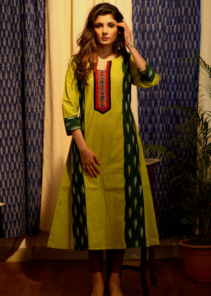 A-line Handloom Cotton Kurti with Ikat and Hand-made kutch mirror Embroidery