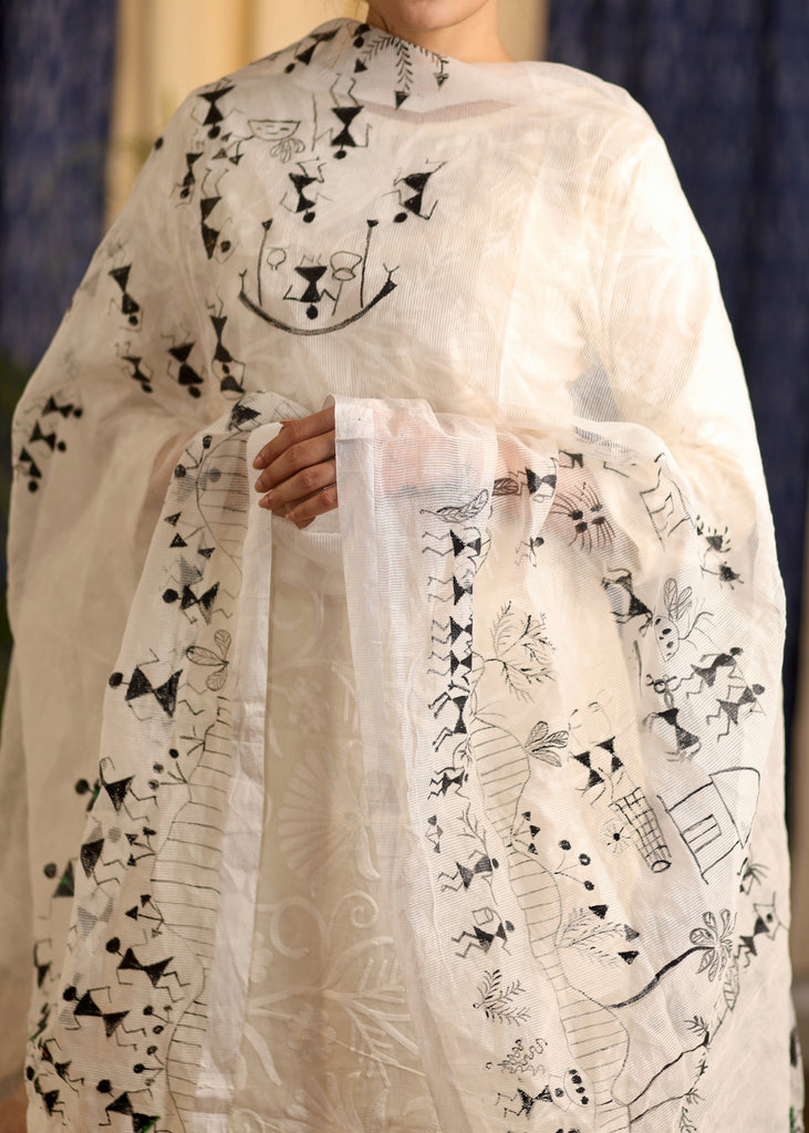 White Kota Dupatta with hand-painted Warli Motifs