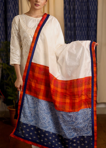 White Chanderi Dupatta with multi colour print and Ikat