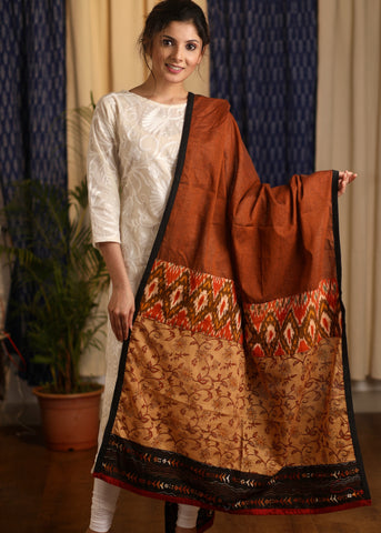 Rust Cotton handloom Dupatta with print and Ikat