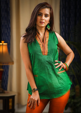 Exclusive Maharashtrian traditional green khun top