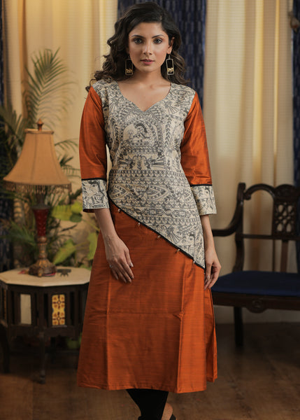 A- line Rust Cotton silk kurta with Exclusive Madhubani details